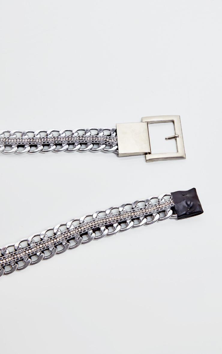 Silver Chain Belt Reversible Diamante and PU Belt 2