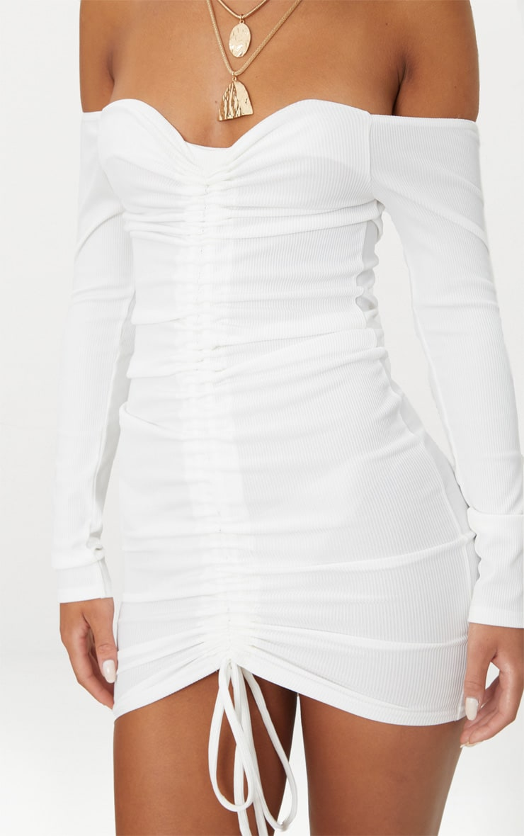 White Ribbed Long Sleeve Bardot Ruched Bodycon Dress 5