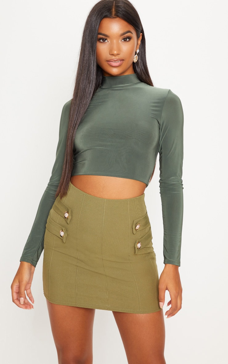 Khaki Bandage Button Detail Mini Skirt