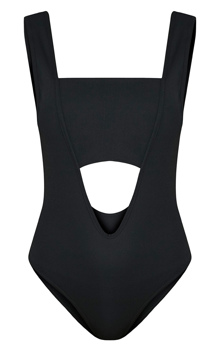 Lorelei Black Cut Out Plunge Thong Bodysuit 4