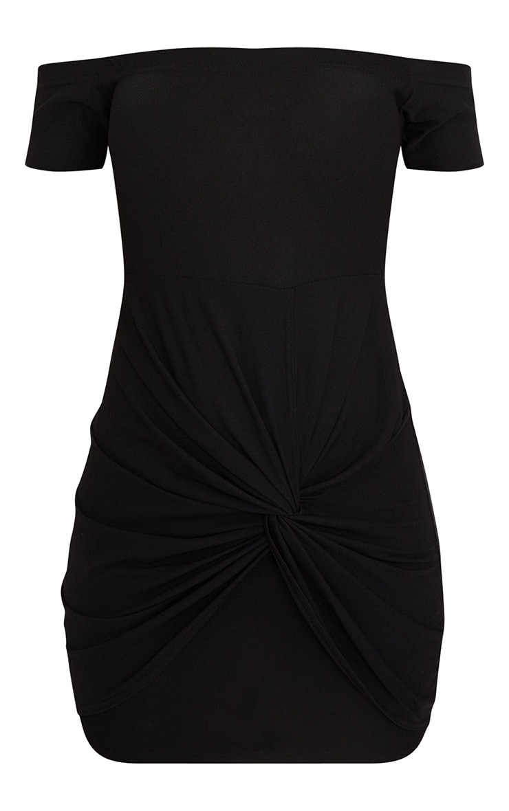 Black Bardot Twist Detail Bodycon Dress 3