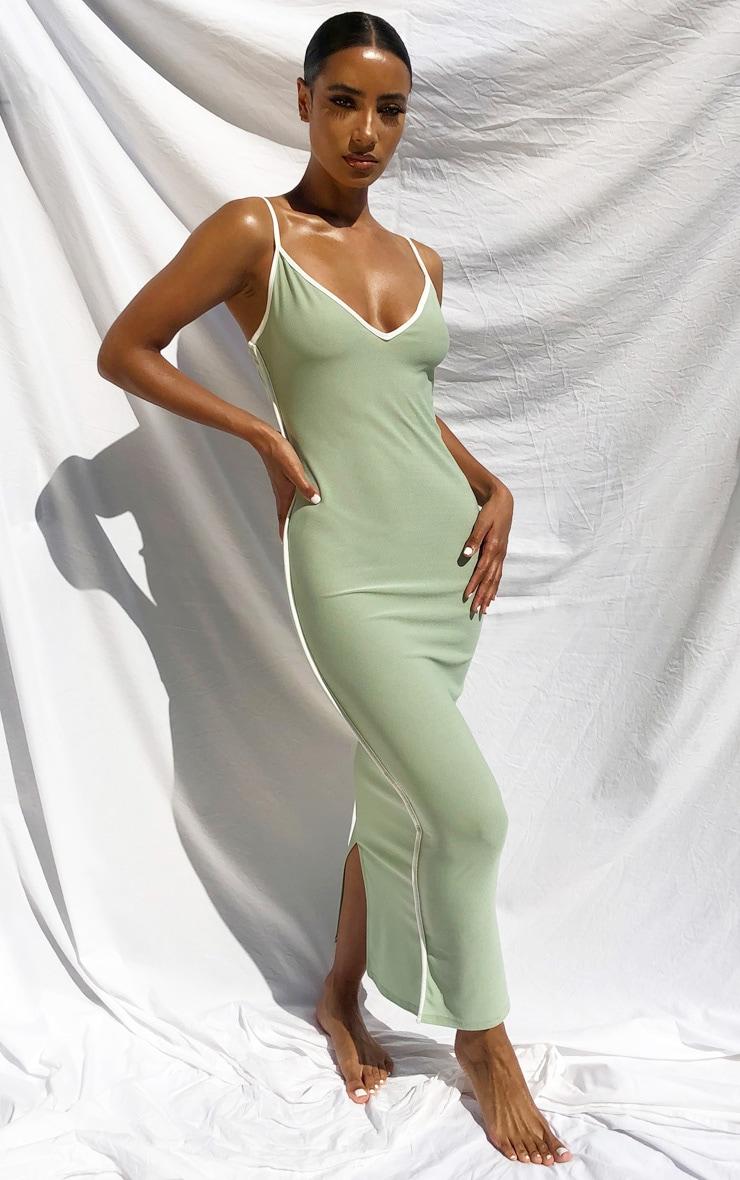 Sage Green Contrast Trim Detail V Neck Strappy Midaxi Dress 1