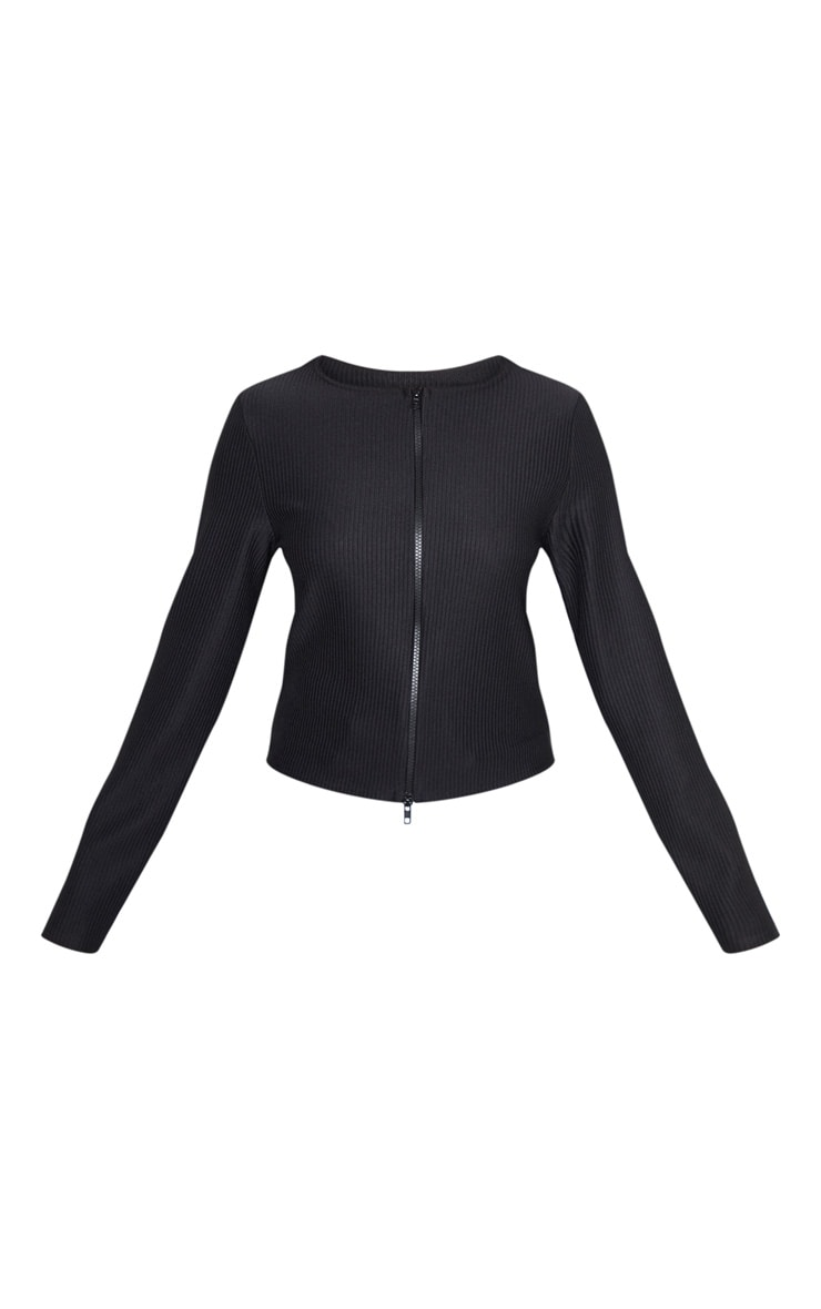 Black Jumbo Rib Double Zip Top 3