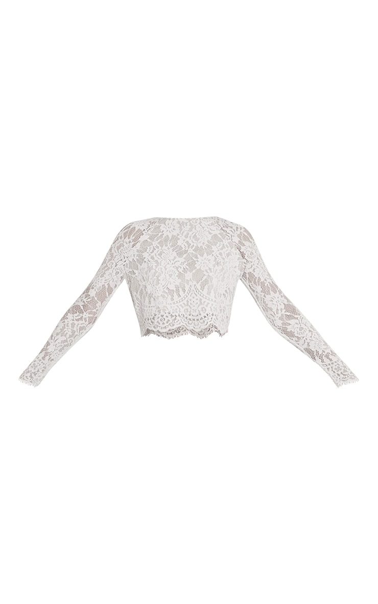 Ellena White Lace Long Sleeve Crop Top 3