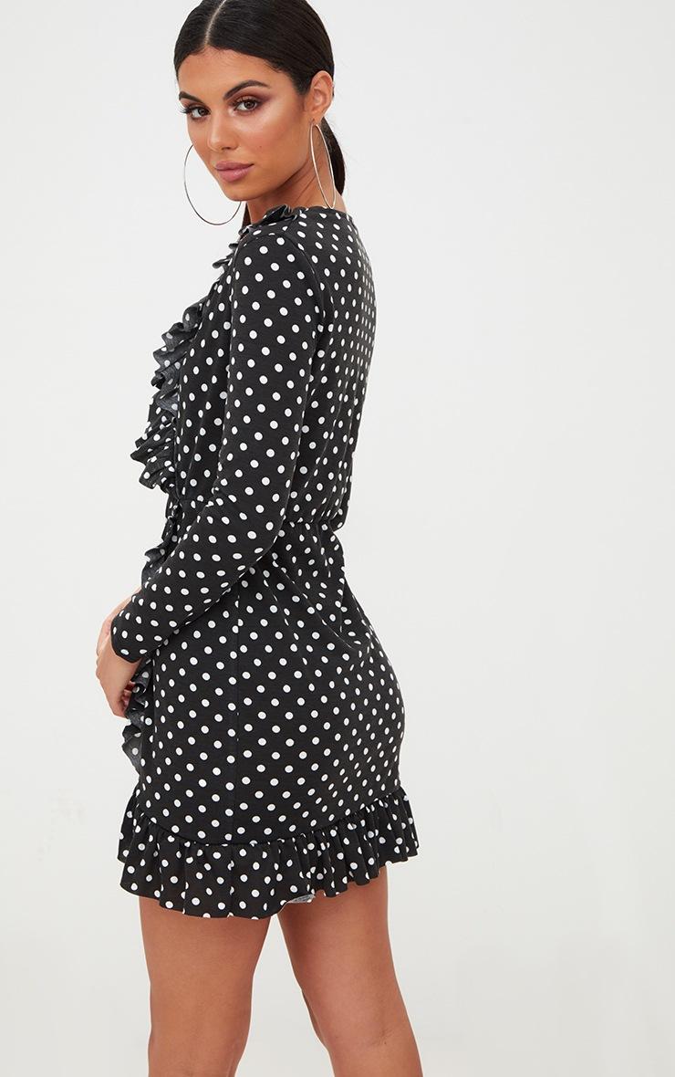 Black Polka Dot Frill Bodycon Dress 3