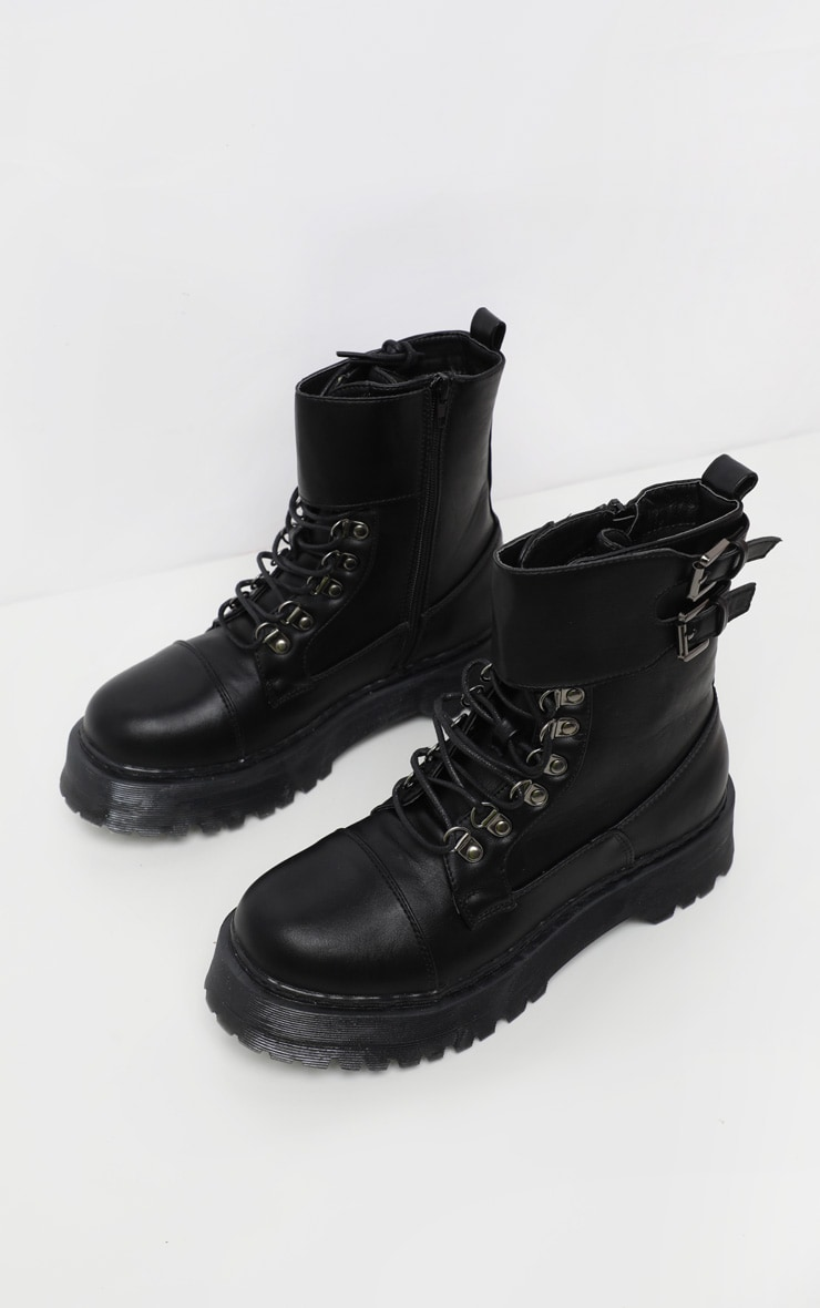 Black Military Chunky Ankle Boot 4