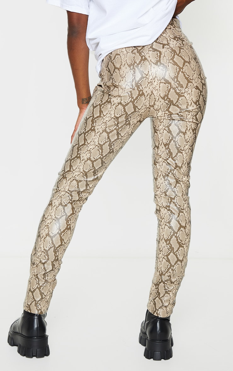 Stone Snake Faux Leather Skinny Pants 3