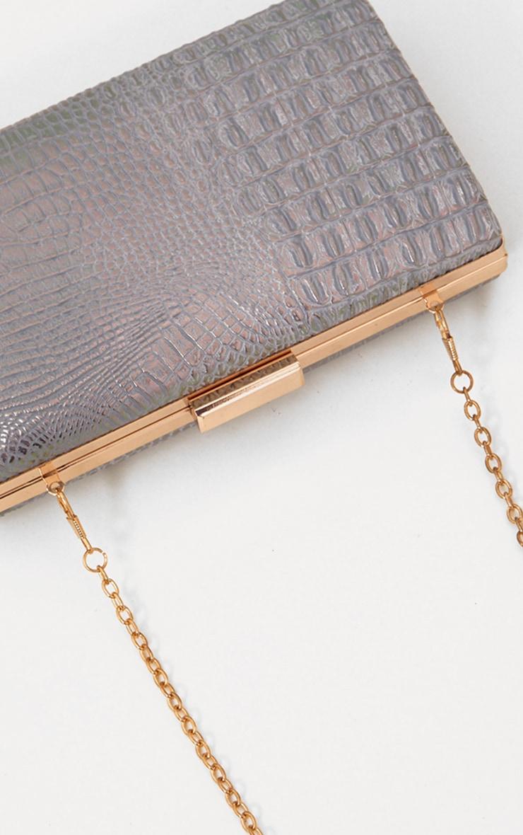 Silver Snakeskin Clutch Bag 4