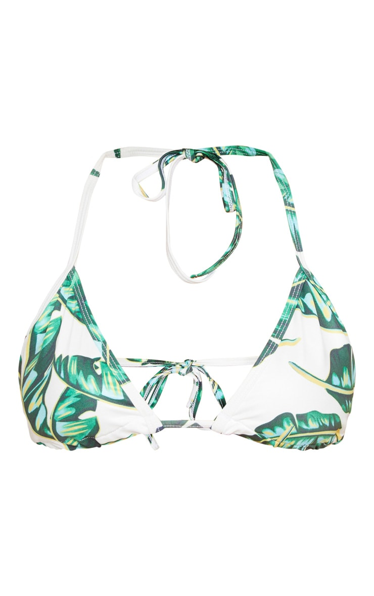 Green Palm Print Triangle Bikini Top 3