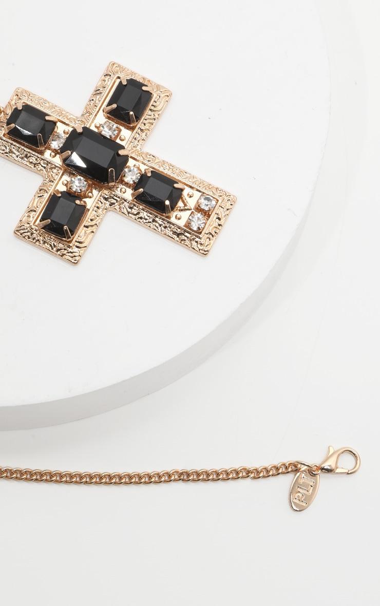 Collier long doré à grosse croix en strass et pierres noires  4