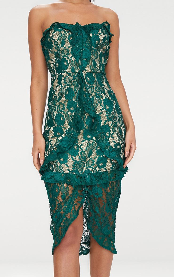 135540b3 Emerald Green Lace Bandeau Frill Detail Midi Dress | PrettyLittleThing