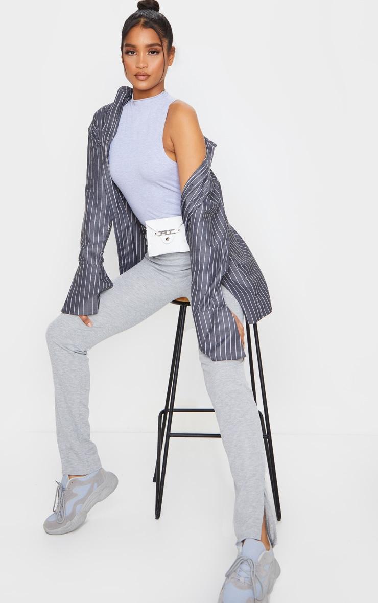 Pantalon skinny côtelé gris chiné à fentes 1