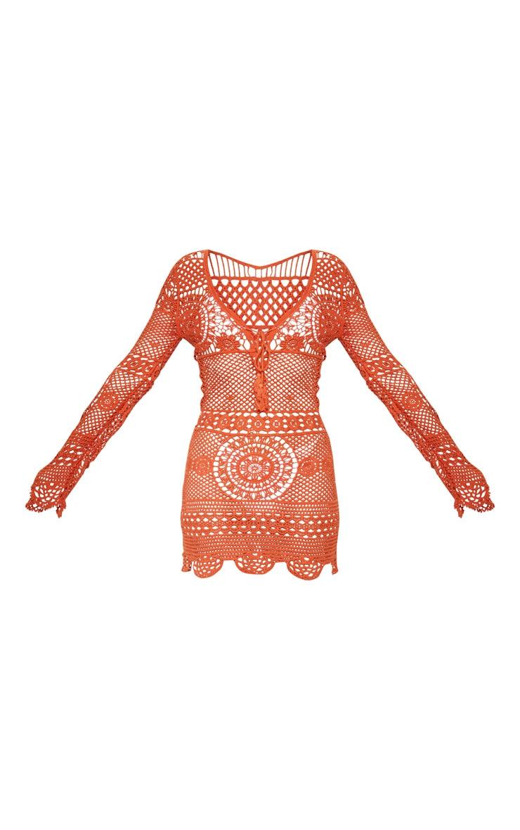 Rust Crochet Cotton Dress 3