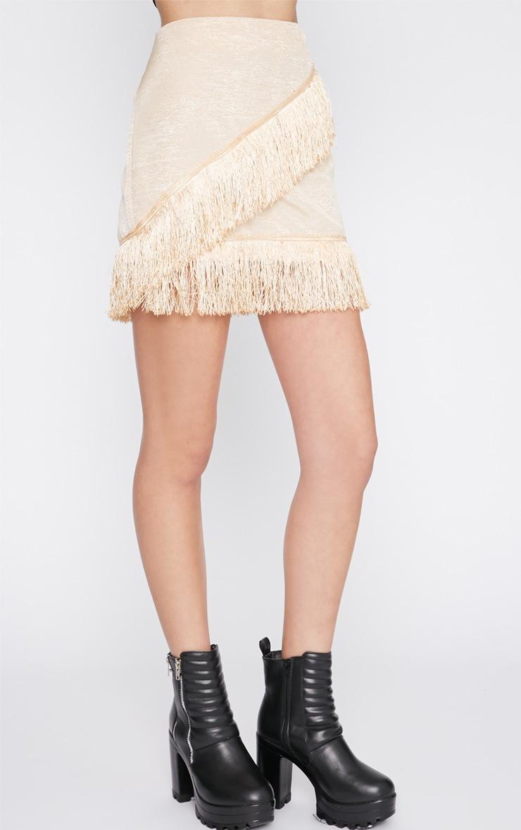 Yasmine Champagne Tassel Mini Skirt  3