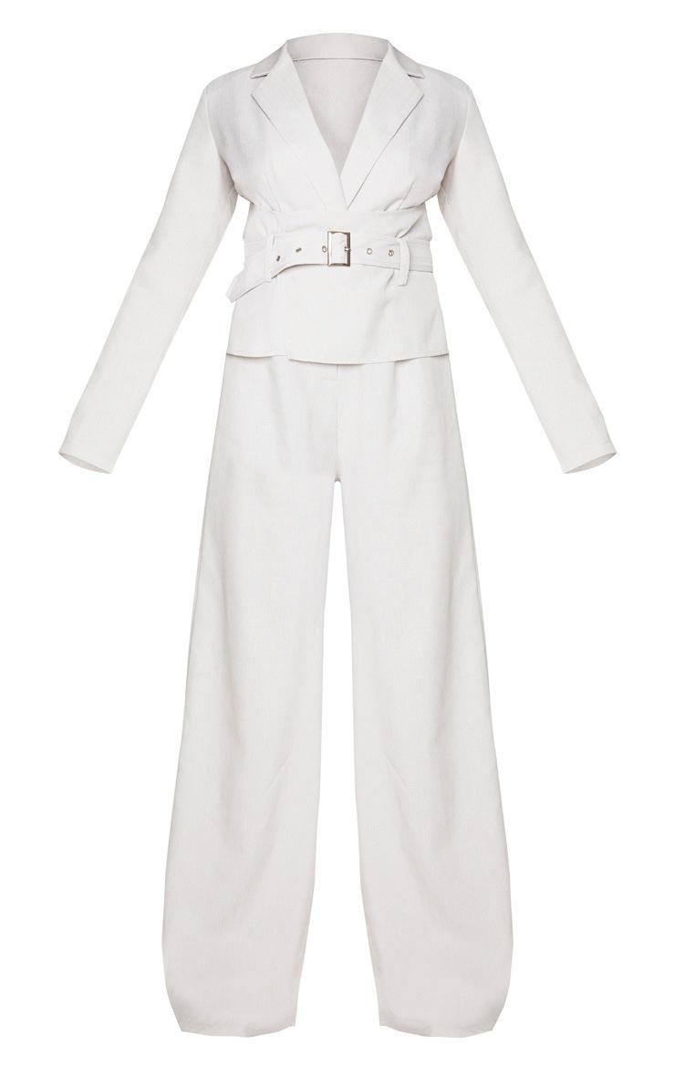 Grey Belted Waist Detail Woven Blazer Jumpsuit 5