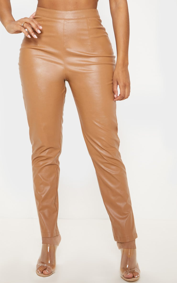 Shape Tan Faux Leather Straight Leg Trouser 2