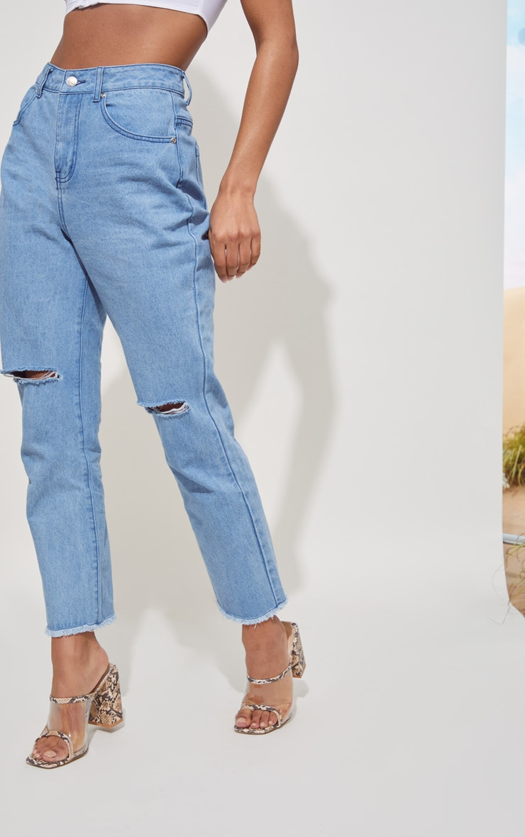 Light Blue Fray Hem Ripped Denim Jeans 3