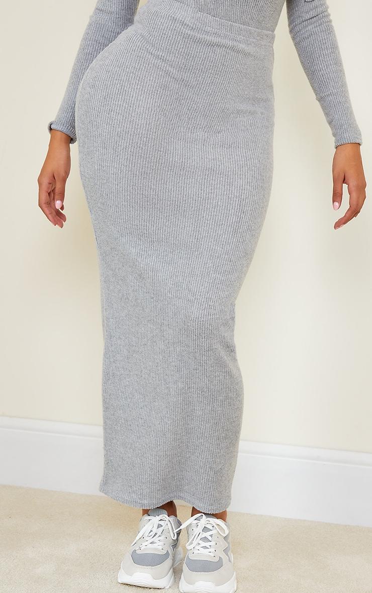 Shape Grey Brushed Rib Midaxi Skirt 2