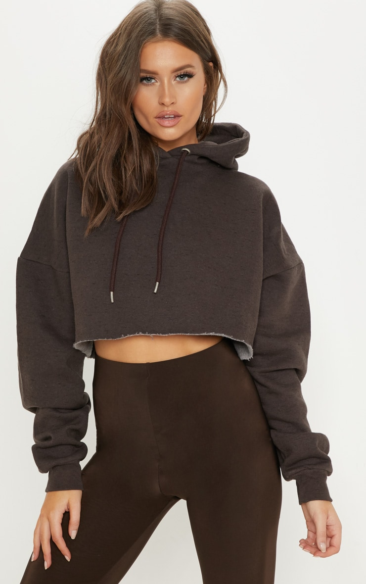 Chocolate Drop Shoulder Oversized Crop Hoodie