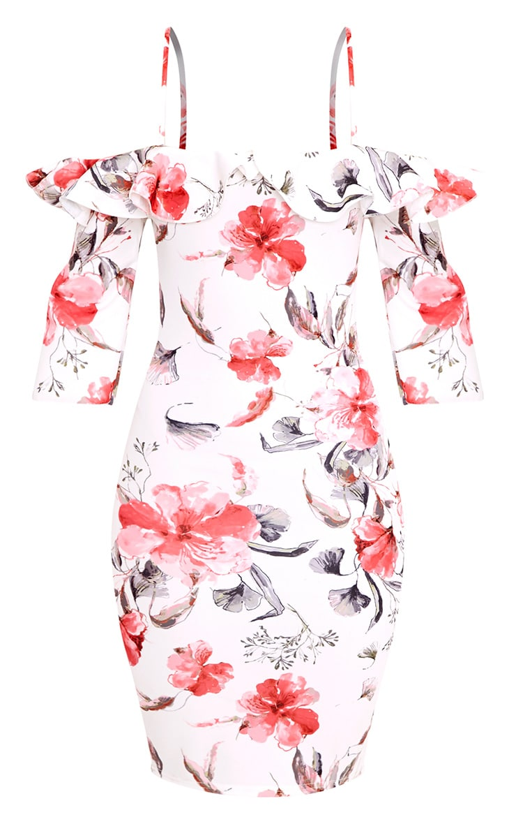 White Floral Cold Shoulder Bodycon Dress 3