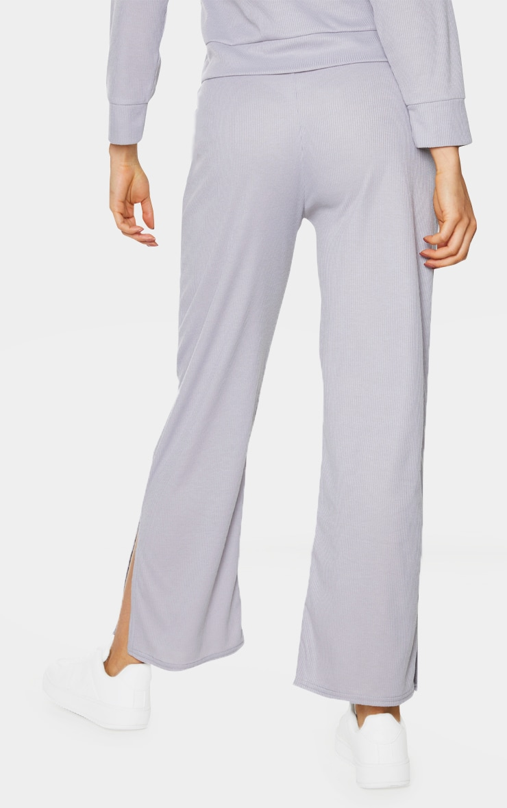 Tall Grey Ribbed Split Hem Flared Trousers 3