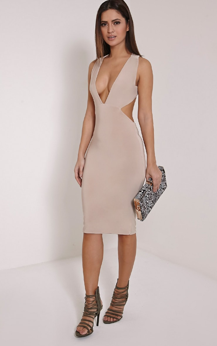 Petite Biddy Nude Deep Plunge Midi Dress 3