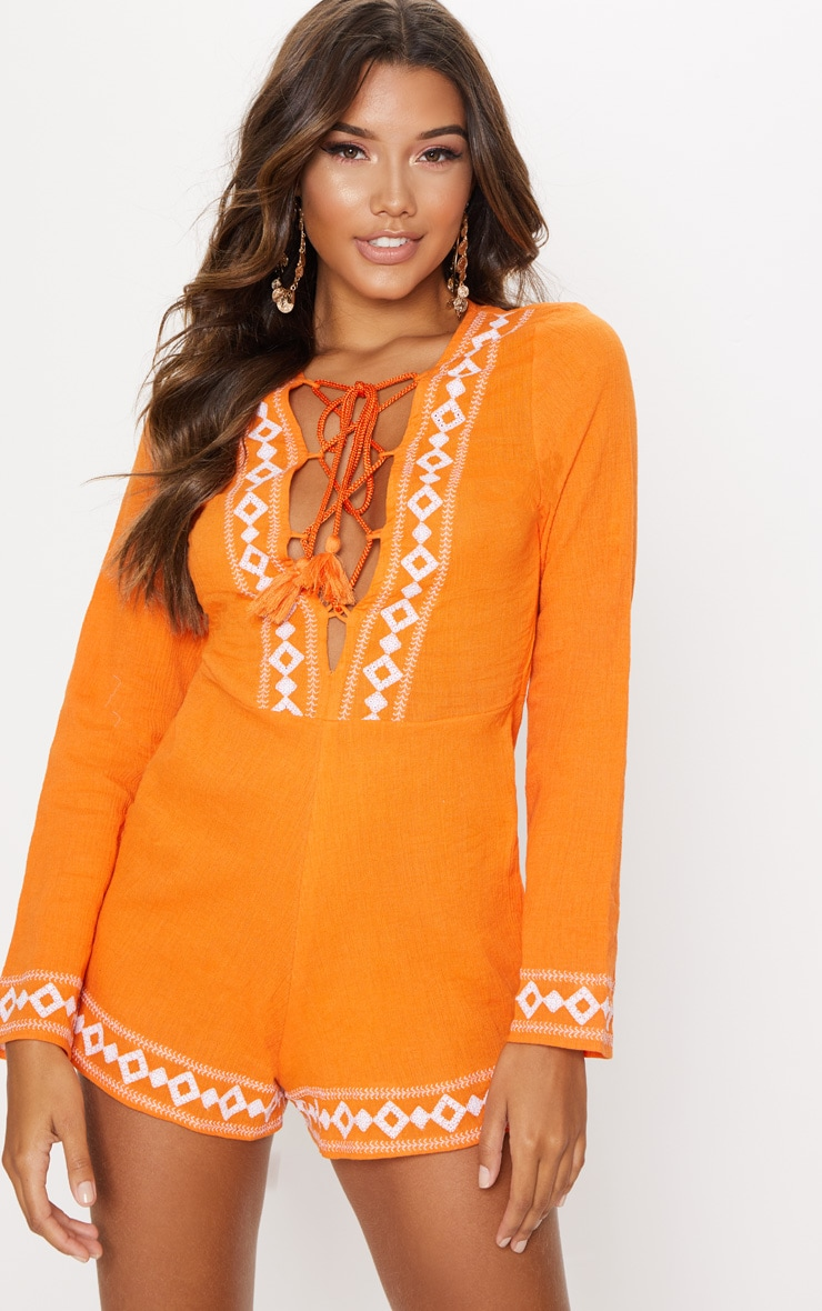 Burnt Orange Embroidered Long Sleeve Lace up Playsuit
