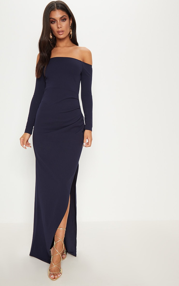 Navy Wrap Over Long Sleeve Bardot Maxi Dress 1