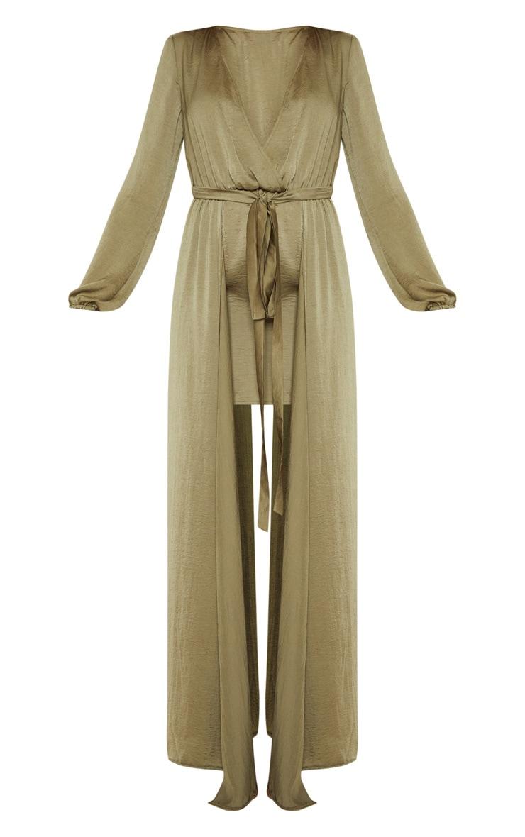 Sage Green Satin Plunge 2 in 1 Maxi Dress 3