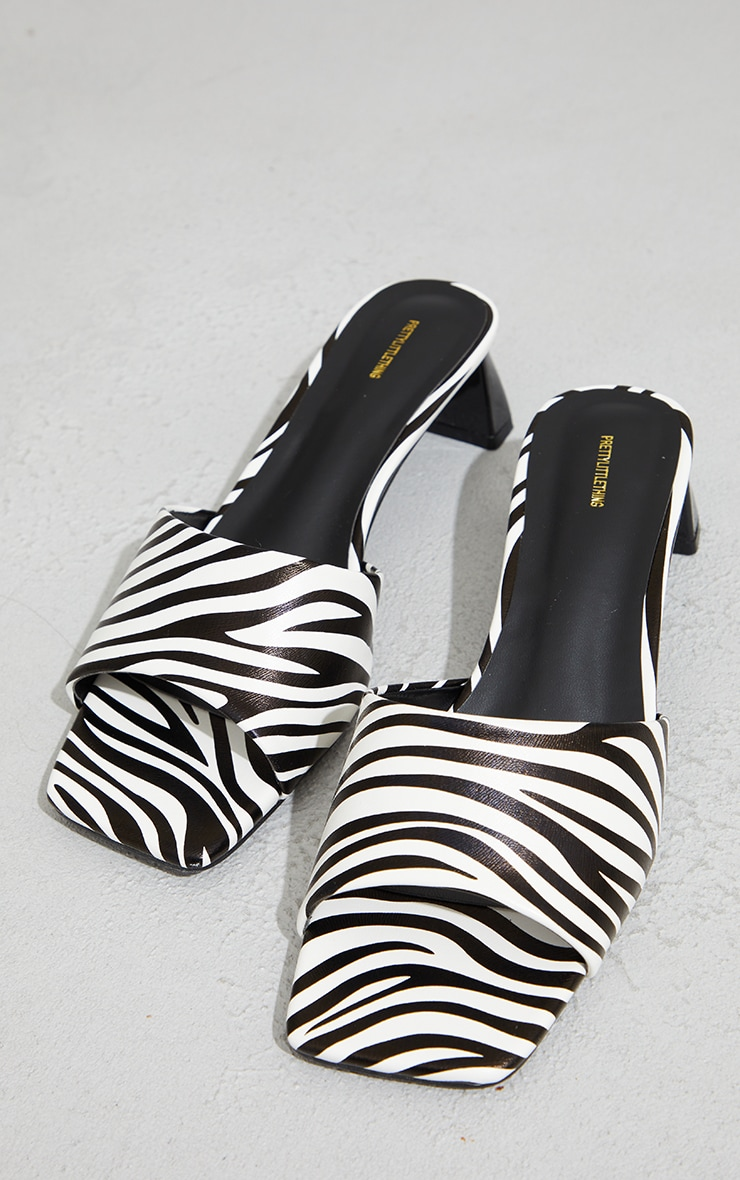 White Zebra Print Low Block Flare Heel Mules 3