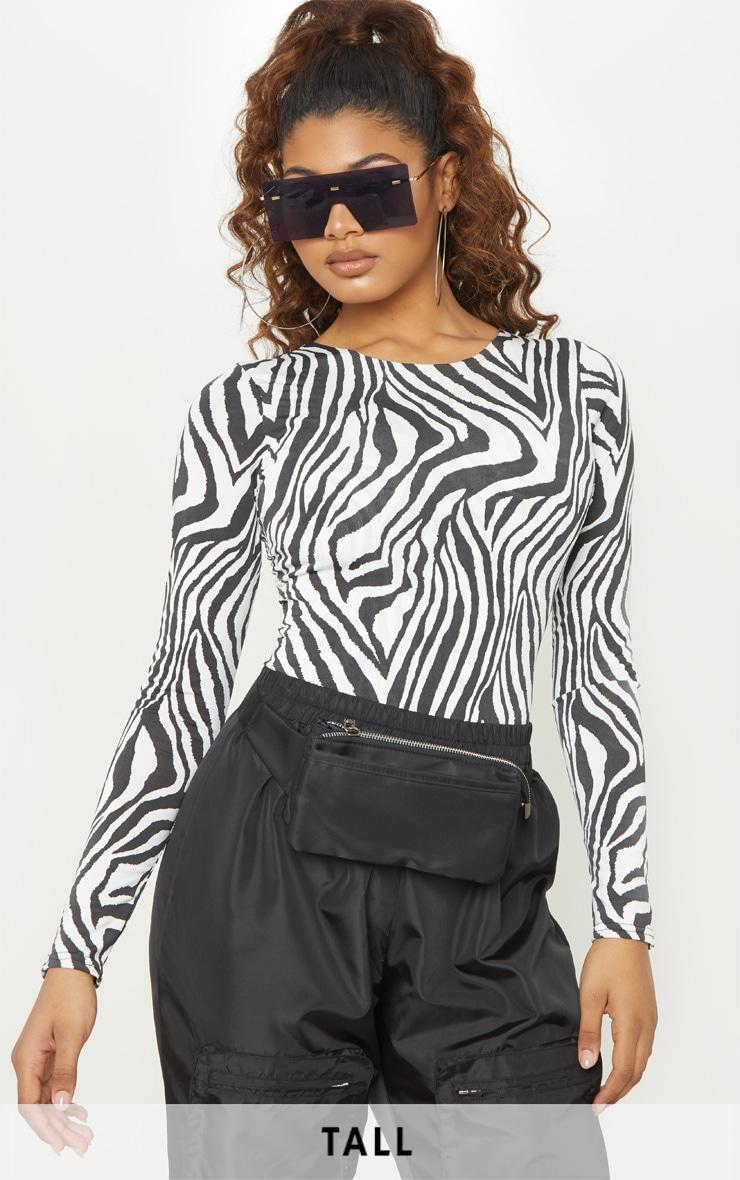 Tall White Zebra Print Slinky Long Sleeve Bodysuit 1