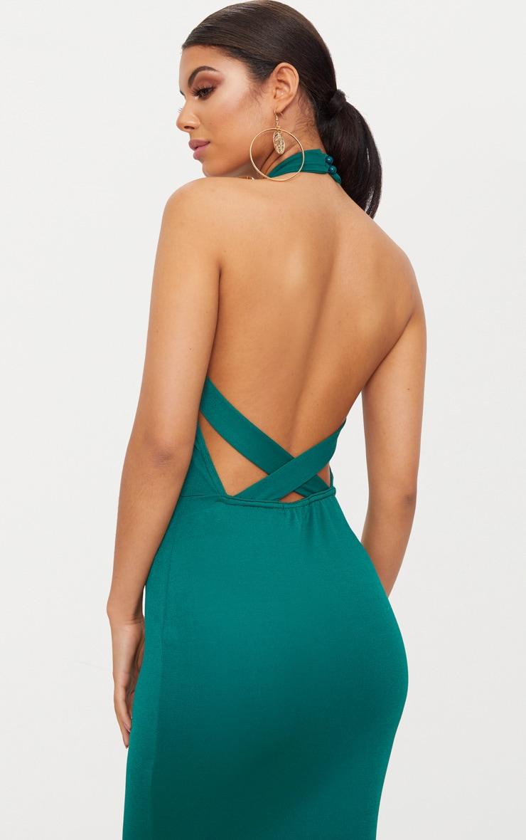 Emerald Green Cross Back High Neck Maxi Dress 5