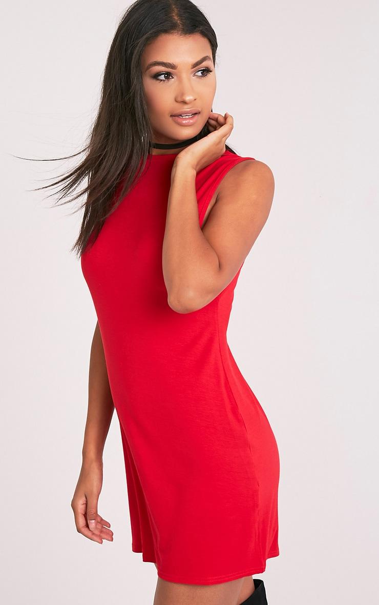 Maddy Red Drop Armhole Sleeveless T-Shirt Dress 5
