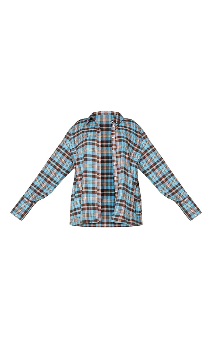 Plus Blue Checked Oversized Shirt 5