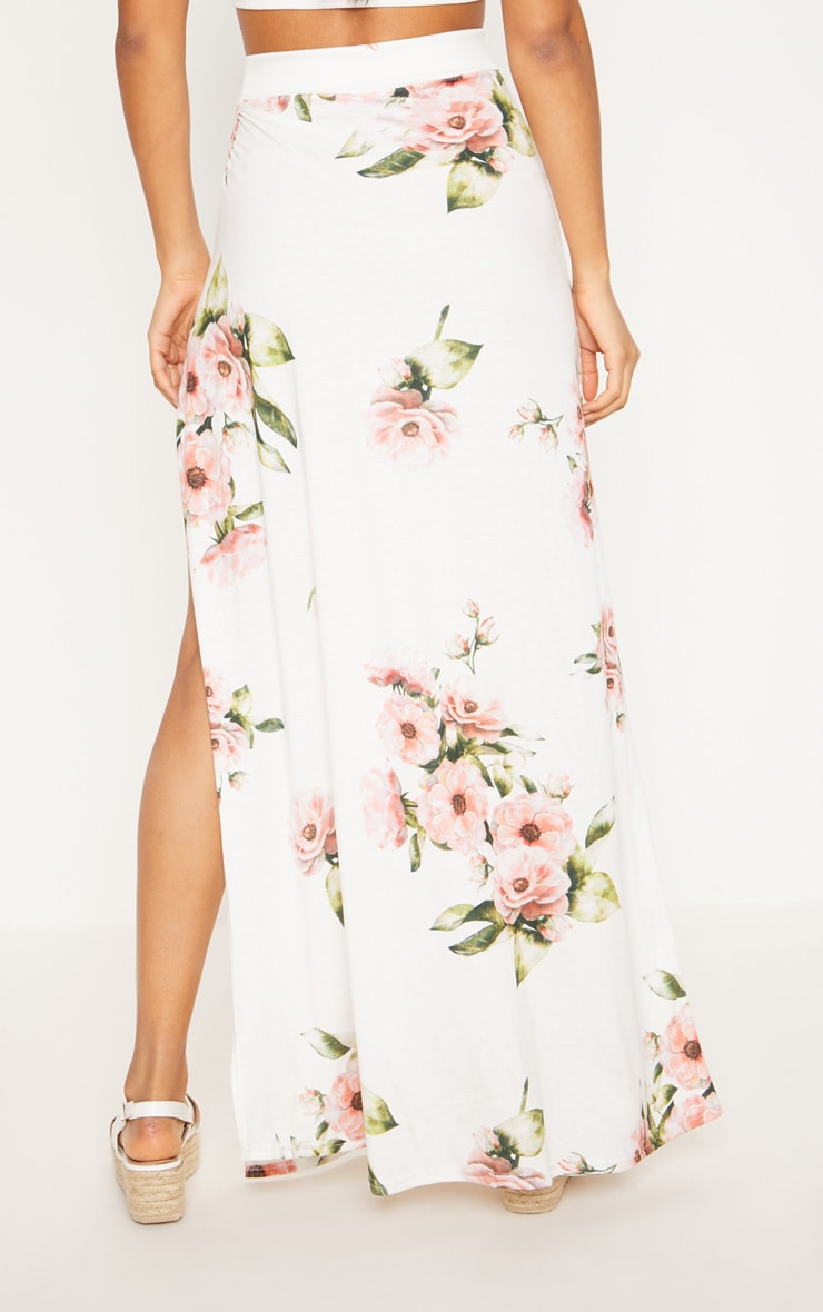Jupe longue blanche imprimé floral 4