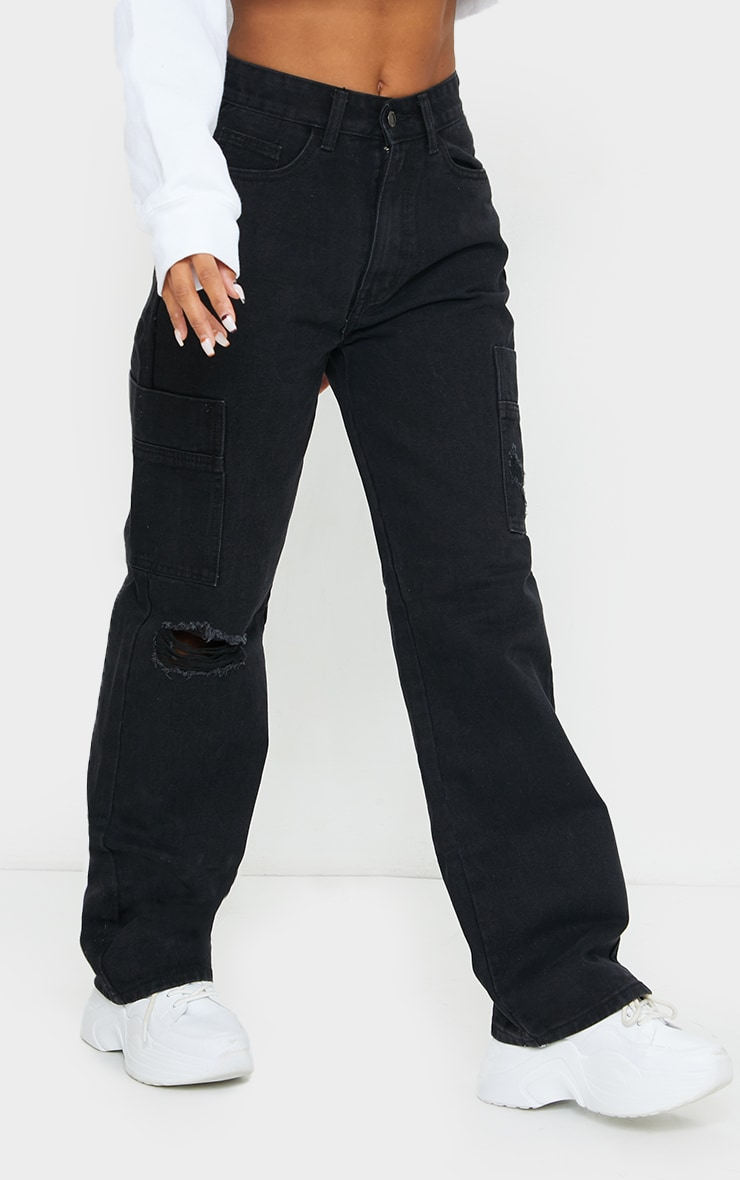Washed Black Wide Leg Distressed Cargo Jeans 2