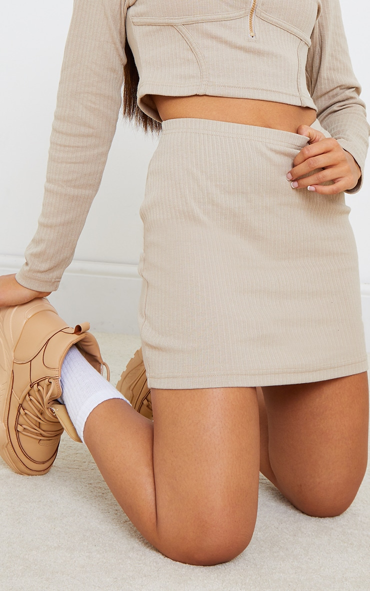 Petite Stone Ribbed Bodycon Skirt 4