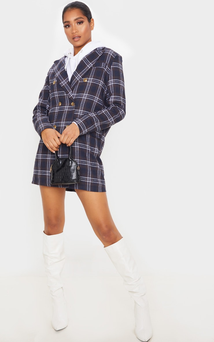 Chocolate Check Print Button Front Detail Oversized Blazer Dress 3
