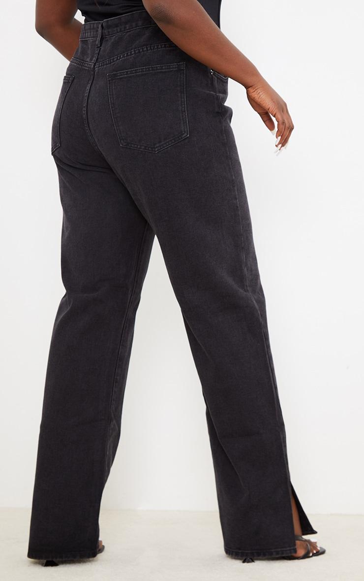 Plus Washed Black Split Hem Jeans 3