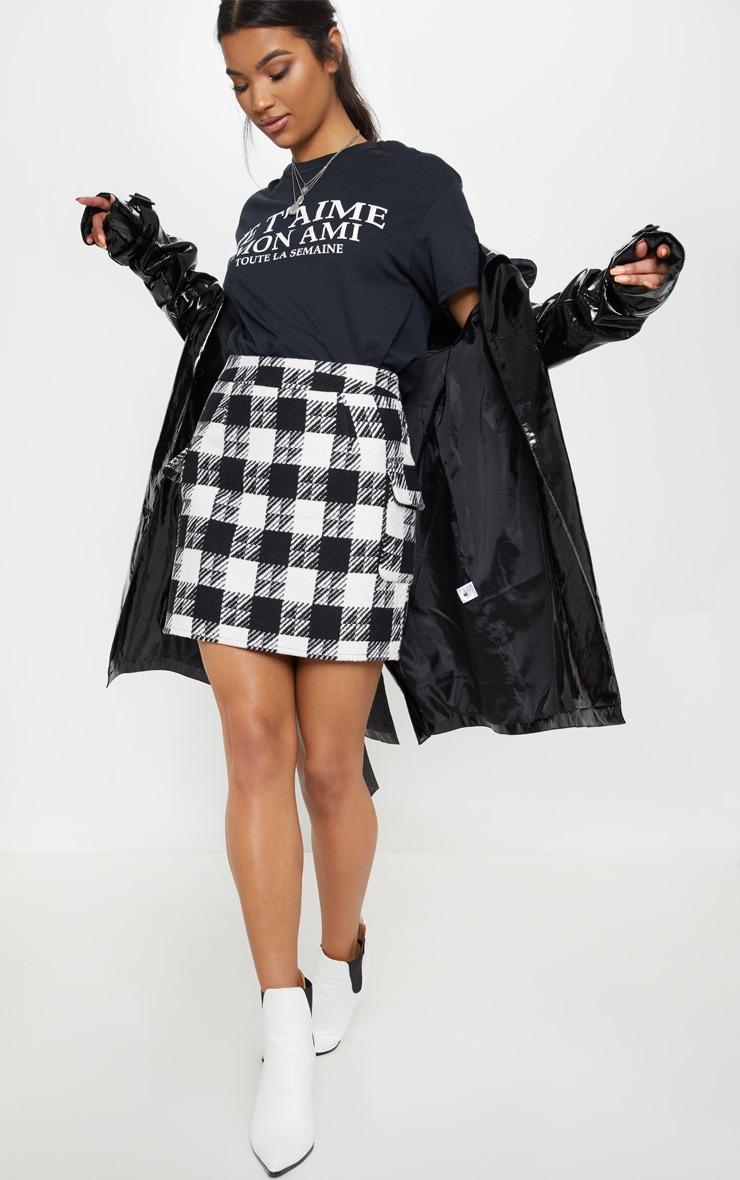 Black Check Oversized Pocket Tweed Mini Skirt 5