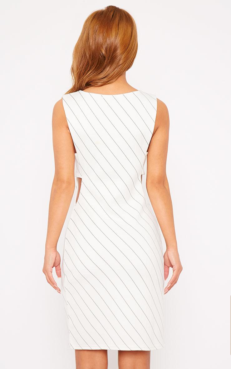 Shamayne White V-Neck Stripe Dress  2