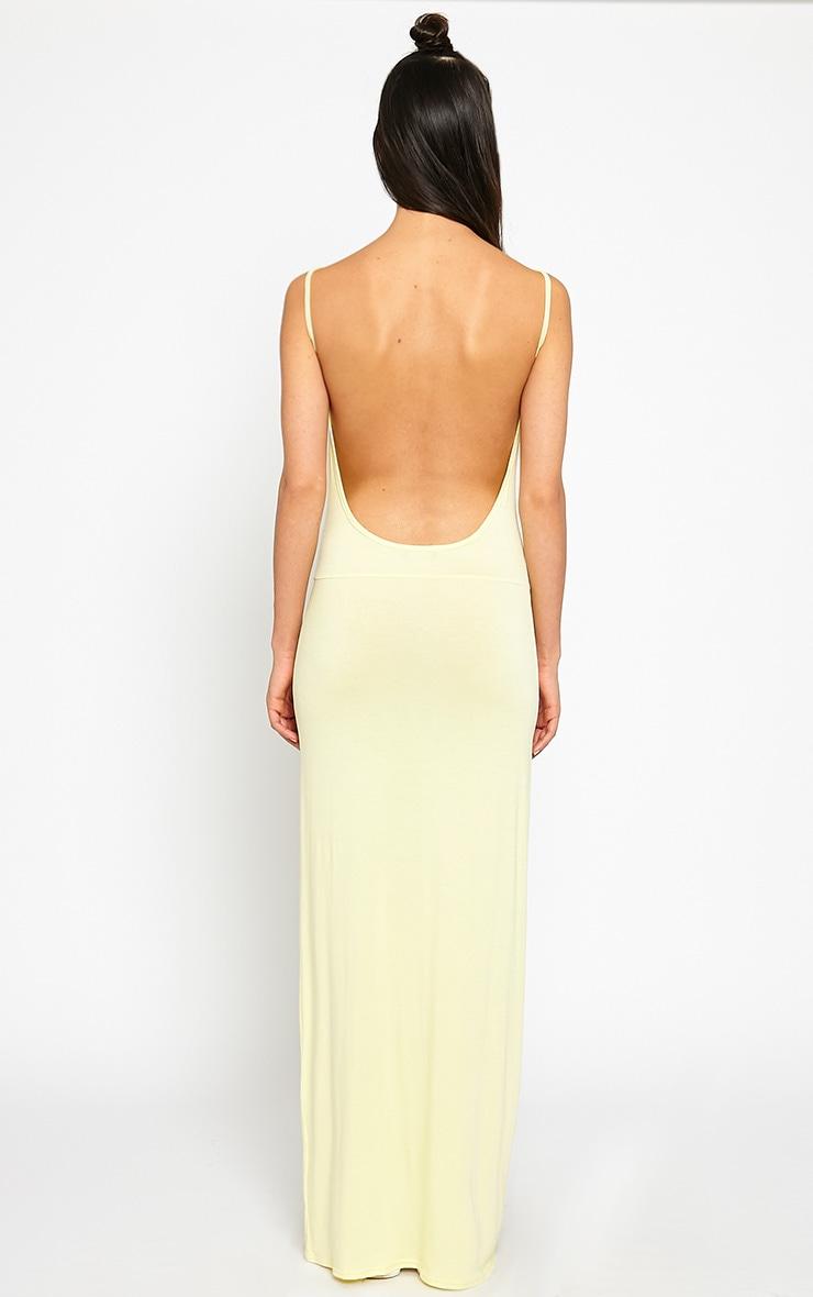 Ellina Lemon Scoop Back Jersey Maxi Dress 2