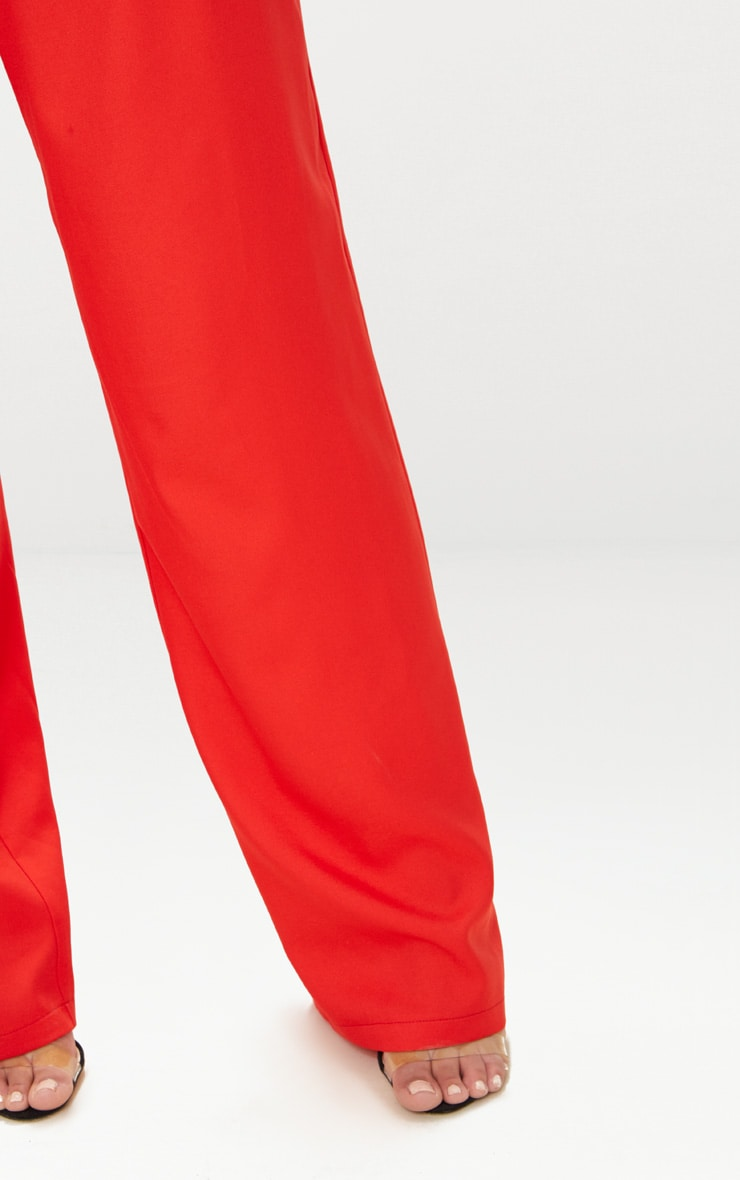 Petite Red Oversized Wide Leg Trousers 5