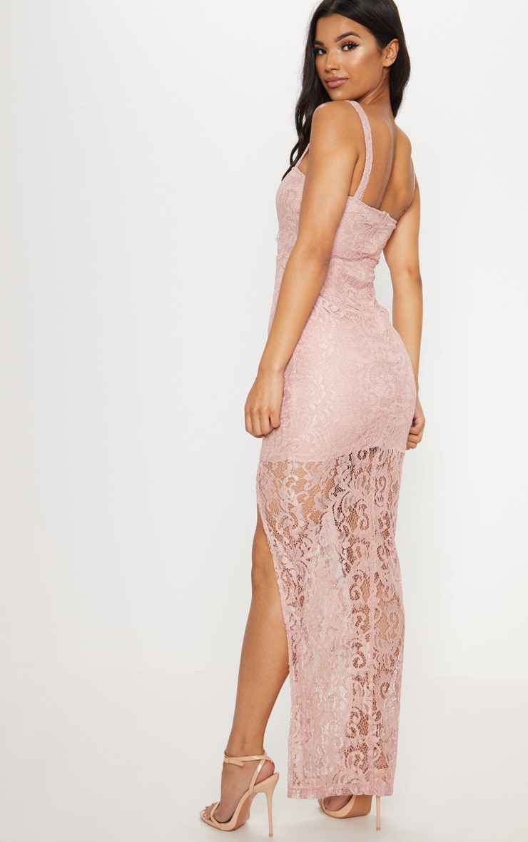 Dusty Pink Lace Square Neck Extreme Split Maxi Dress 2
