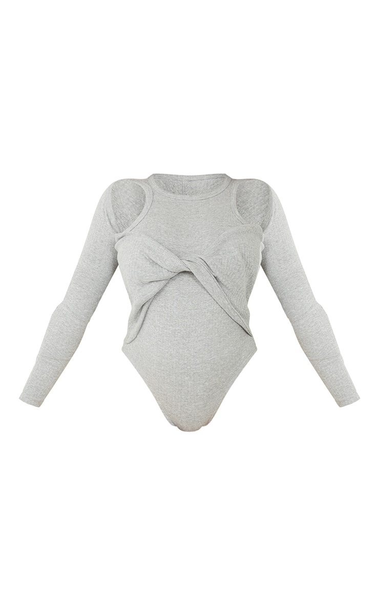 Grey Rib Racer Tie Front Long Sleeve Bodysuit 5
