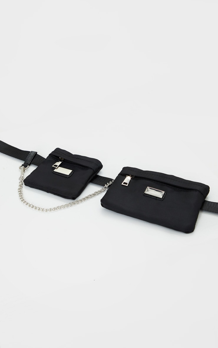 Black Nylon Double Square Bum Bag 2