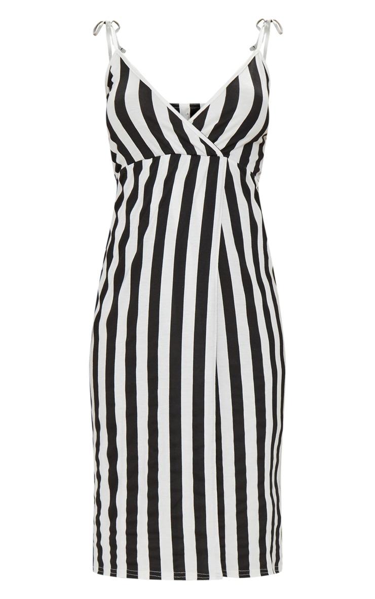 Black Stripe Plunge Wrap Detail Midi Dress 3