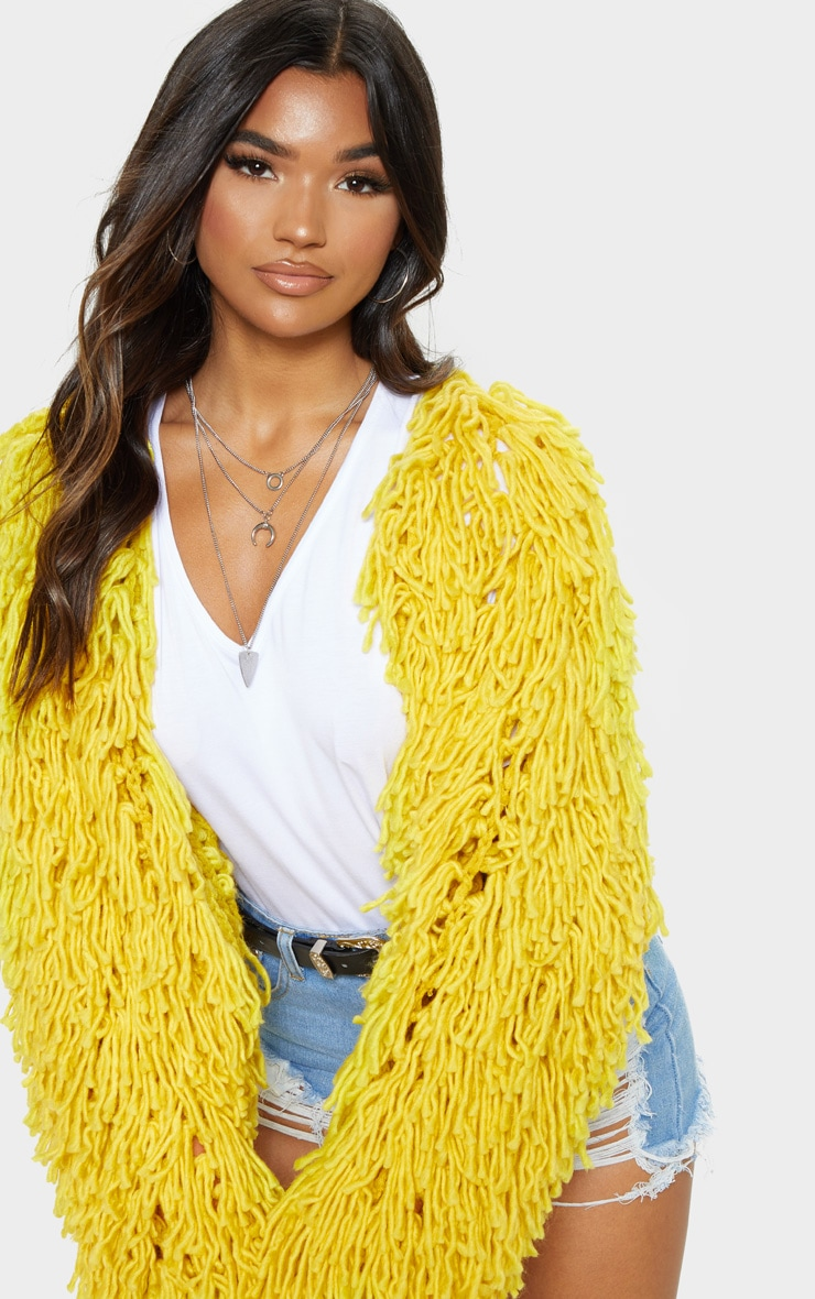 Mustard Shaggy Knit Cropped Cardigan 5