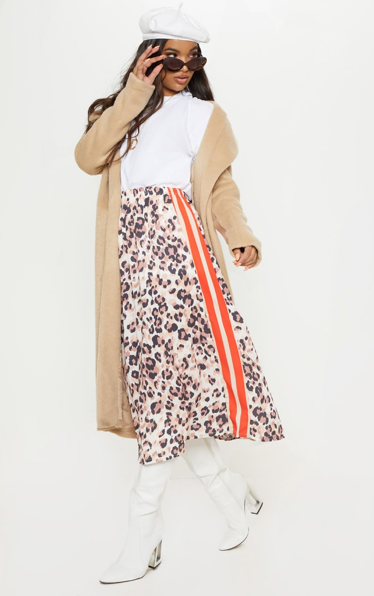 Chocolate Printed Sport Stripe Midi Skirt 1
