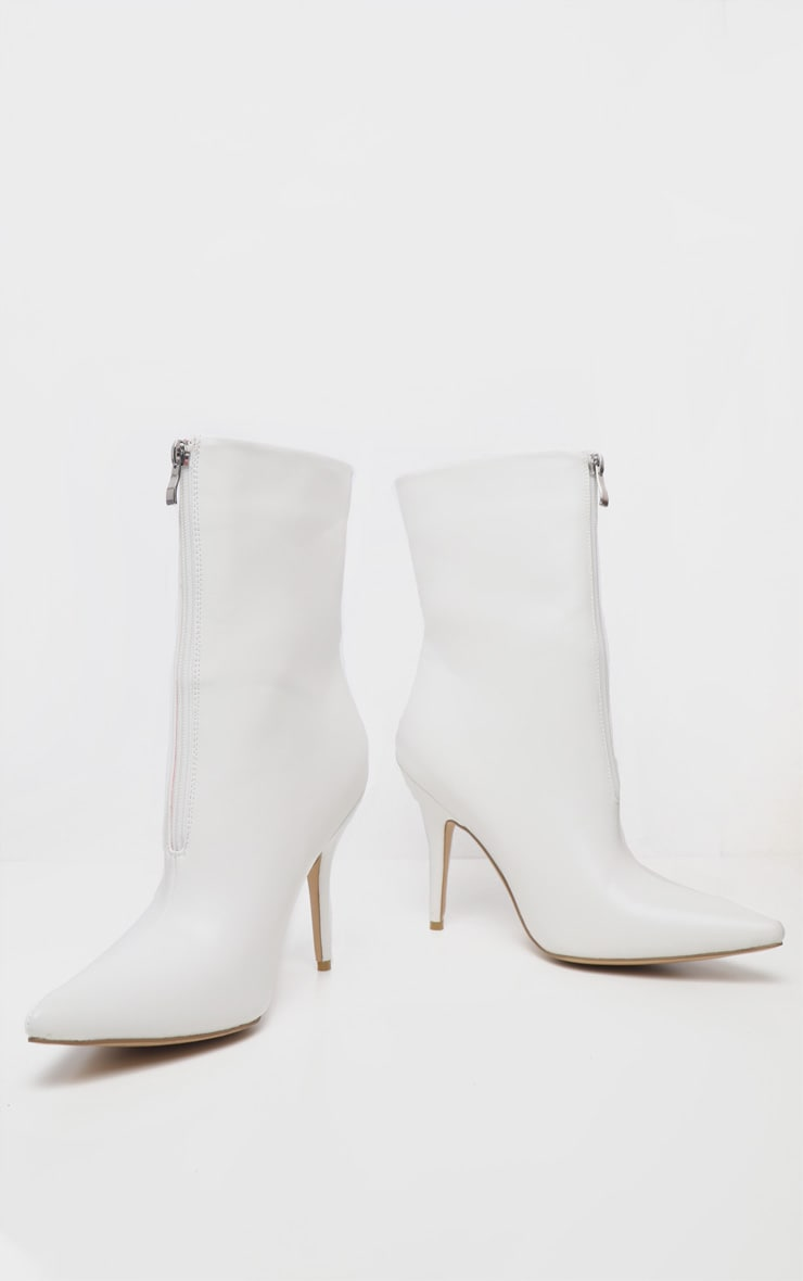 White Zip Front Ankle Boot 5